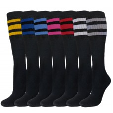 6 Pairs of Black 23 inch Old School three striped tube Knee High socks