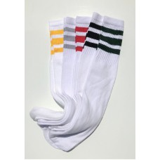 4prs  Assorted 19 inch White Tube socks with old school 3 stripes