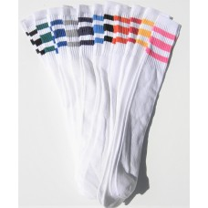 23 inch White Tube Knee High Socks With Old School three stripes