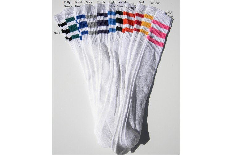 aed322678 23 inch White Tube Knee High Socks With Old School three stripes