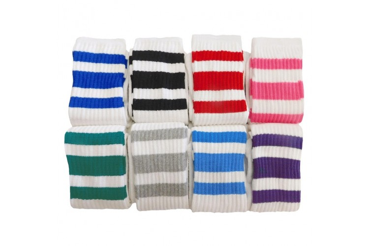 aaaca54b4 Sale 8 Prs 23 inch White Tube Knee High Socks Old School three stripes