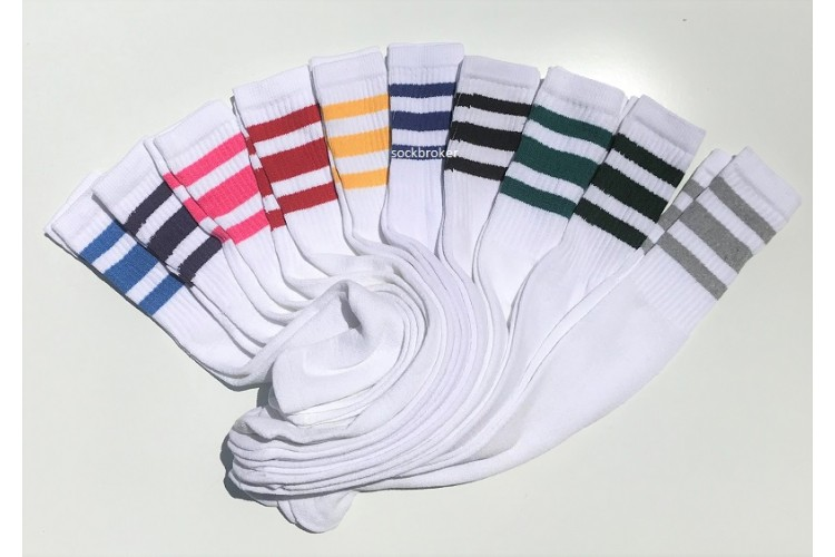 93eca6639 Sale 8 Prs 23 inch White Tube Knee High Socks Old School three stripes