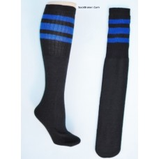 "23""  Black tube socks with three royal blue stripes knee high socks"