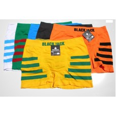 6 Pack BlackJack Men's Striped Seamless Boxer Briefs