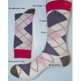 Bone with purple and pink argyle dr..