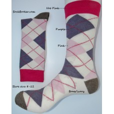Bone with purple and pink argyle dress socks size 8-12