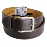 Leather Money Travel Belt with hidd..