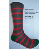 Charcoal with red cotton striped dr..