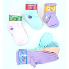 8 Pack cotton assorted color cuffed bobby socks