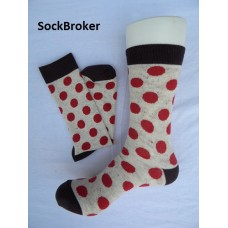 Men's beige and red polka dots crew / dress socks