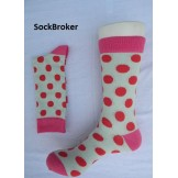 Off white with pink and red polka d..