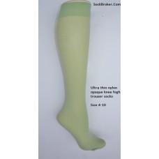 Mint green opaque thin nylon knee high trouser socks