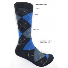 Navy blue charcoal mercerized cotton argyle dress socks