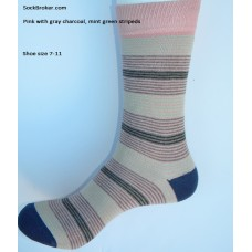 Pink with gray and mint green stripes socks-Mens