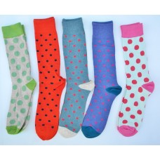 5 pairs of assorted polka dot crew / dress socks size 8-12