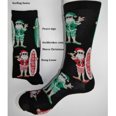 Surfin santa cotton socks for christmas