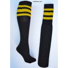 "23""  Black tube socks with three gold yellow stripes knee high socks"
