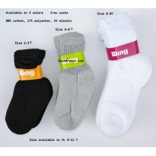 12 pairs kids cotton athletic crew socks