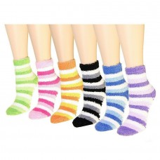 6 Assorted Soft Plush Cozy Striped Socks