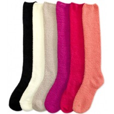 6 Assorted soft Plush cozy Knee HIgh Socks