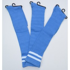 Light blue knee high socks with double ( 2 ) white stripes