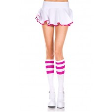 White Tube Fitted Knee High Socks Hot Pink Stripe