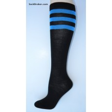 Black and Periwinkle blue 3 striped knee high socks