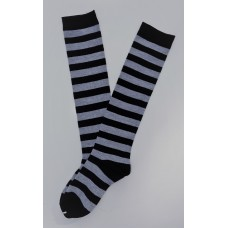 Black and Light Gray Striped Knee High Socks