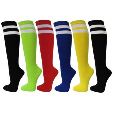 3 Pack Double Striped Referee Knee High Socks