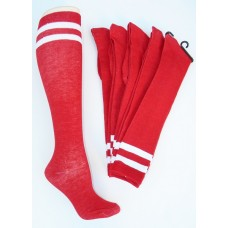 Red with double white striped knee high socks