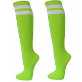 Double striped Neon green knee high..