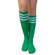 Green w White Triple Striped Knee High Socks