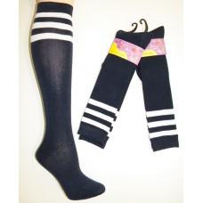 Cotton Navy Knee High Socks 3 White Stripes