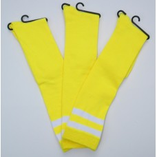 Double striped NeonYellow knee high socks