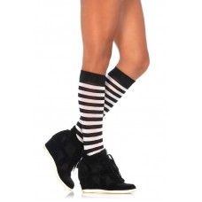 Opaque black and white striped knee high socks
