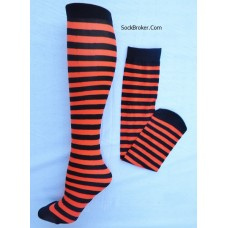 Opaque black and neon orange striped knee high socks
