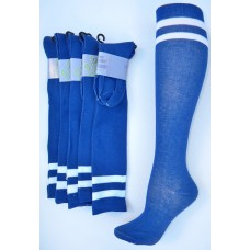 Royal blue knee high socks with double ( 2 ) white stripes