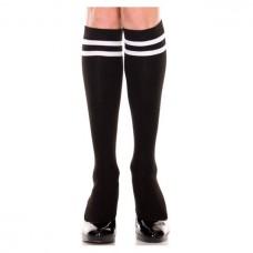 Black Double White Striped referee Knee High Socks