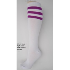 White with three light purple striped knee high socks