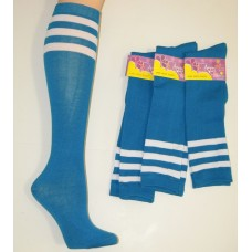 Cotton Turquoise Blue Knee High Socks 3 White Stripes
