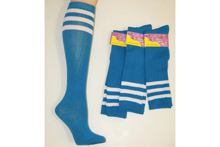 882dbaac07b Cotton Turquoise Blue Knee High Socks 3 White Stripes