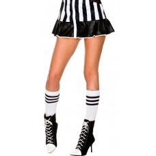 Sale!12 Prs White w black Triple Stripe Knee High Socks