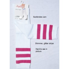 Sale!! 6 White knee high socks with three hot pink shimmery stripes