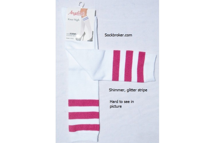 952940004 Sale!! 6 White knee high socks with three hot pink shimmery stripes