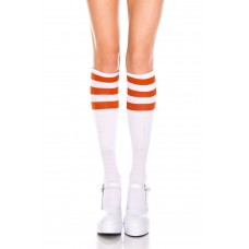 White w/ Neon Orange Old School 3 Striped Fitted Tube Knee High
