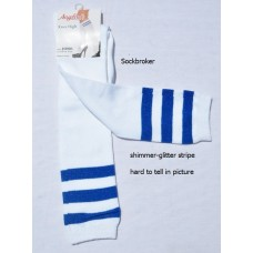White knee high socks with three royal blue stripes
