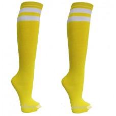 Double striped NeonYellow knee high socks