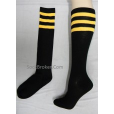 Black and yellow triple striped knee high socks