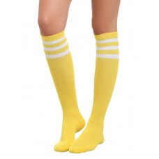 Neon yellow with white triple striped knee high socks