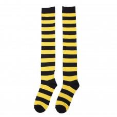 Black / Yellow Thick Striped Knee High Socks